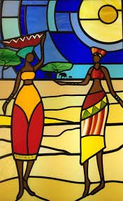 african design stained glass - Google Search Stained Glass Patterns, Stained Glass Art, Stained Glass Windows, Mosaic Glass, African American Art, African Art, Art Africain, Glass Artwork, Bottle Painting