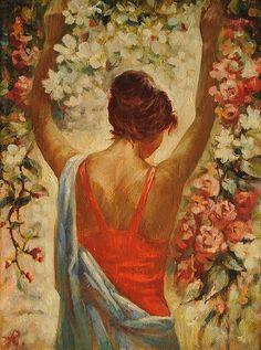 Flowering.Oil on... by Anatoliy Rozhansky