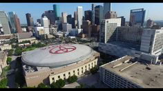 Aerial View Of The Toyota Center in downtown Houston.