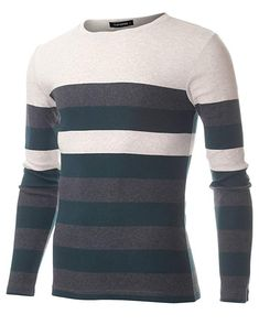 9a2feaa468ae Amazon.com  FLATSEVEN Men s Slim Fit Striped Long Sleeve T-shirt  Clothing