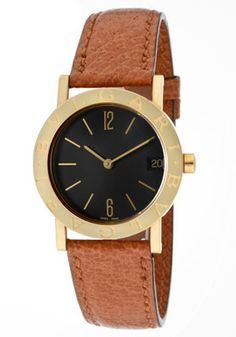 BulgariWomen's Black Dial 18k Solid Gold Case (30 mm) Brown Leather #Watches