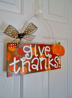 Give Thanks Polka Dot Thanksgiving Fall Sign - fall signs - cute polka dot signs - cute holiday signs