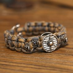 Mcllroy 2018 new style Fashion Jewelry nylon rope braided plated ancient silver charm skull bracelet