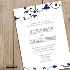 Custom Wedding Invitation Printable. DIY. by PurpleTomatoDesign RSVP card. Favor Tag. Wedding Invite. Floral. Leaves. Romantic. Avant Garde. Wedding Package. $15.00 #wedding #printable #invitation #navy