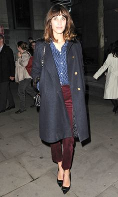Blue polka dot shirt, dark red trousers + navy coat = love love love! Alexa Chung Out In London, 2012 found on Look Magazine