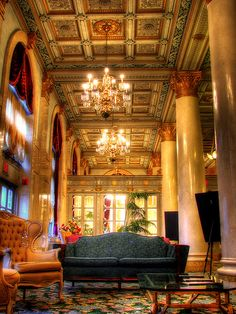 """Bossert Hotel Lobby by Josh Derr, via Flickr  The Hotel Bossert was built in 1909 by Louis Bossert, a Brooklyn lumber magnate and opened as an """"apartment hotel."""" During the 1920s, it was known for its two-level rooftop restaurant that provided panoramic Manhattan views. In the 1950s, the Bossert was home to several Brooklyn Dodger players. It has been owned by Jehovah's Witnesses since 1988, after which they meticulously returned the majestic 14-story building to world class grandeur."""