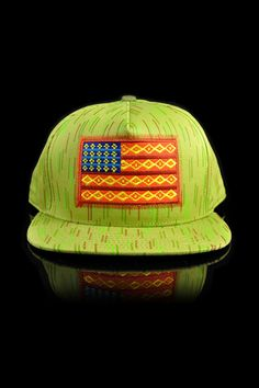 Official Crown Native Rain Camo Flag Snapback Hat Olive