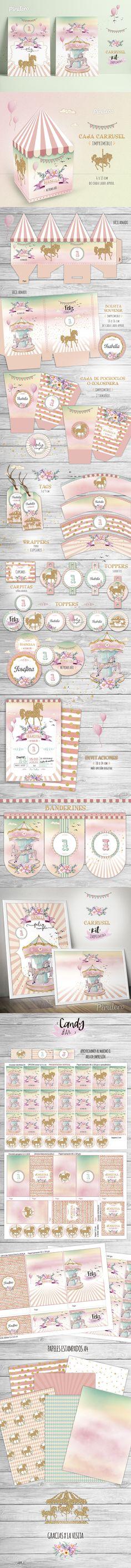 Kit imprimible Carrusel Printable kit Carousel party decorations #Printable #CarruselParty #carouselParty #carrusel #carousel #party #birthday