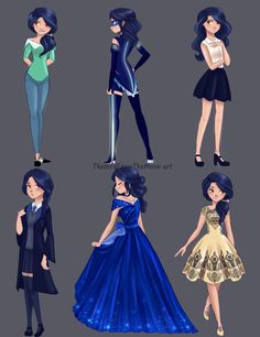 Requested: my miraculous OC, Alice aka Blue Jay with different outfit! *Note 1* The third one of the first row is actually one of the first concept art for Alice! (at the time she was 21 tho) *Note 2* The first one of the second row is an Hogwarts...