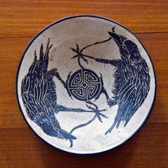 Raven Blessing Bowl by artist, Beth Menczer Crow Art, Raven Art, Bird Art, Ceramic Pottery, Ceramic Art, Jackdaw, Crows Ravens, Sgraffito, Bird Feathers