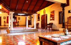 Interior of a traditional Indian home. Traditional wooden features attribute to classic interiors.