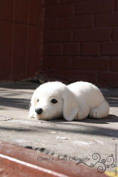 Купить Щенок Динка - белый, щенок, лабрадор, игрушка из шерсти, игрушка из…