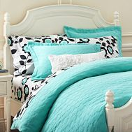 Not the HORRIBLE sheets, but maybe the duvet? I like the texture and it might go in the girl's room