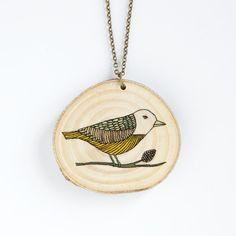 Bird  illustrated wooden necklace by depeapa on Etsy