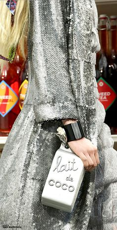 Chanel F/W 2014 -- sequin dress & milk carton bag #style #fashion #runway