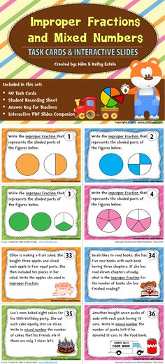 Improper Fractions and Mixed Numbers: Task Cards with Interactive PDF Slides $