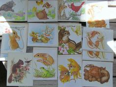 Vintage Current Stationary Animals Critters Squirrel Mice Birds Note Cards  Assortment lot of 14 Powell Wilson Giordano by EvenTheKitchenSinkOH on Etsy