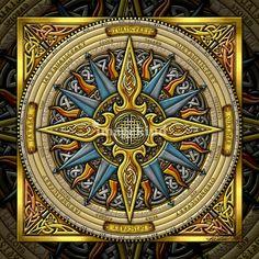 Celtic Compass Mandala -- Artist: Kristen Fox Image from… Compass Mandala, Compass Art, Mandala Art, Celtic Mandala, Celtic Symbols, Celtic Art, Celtic Knots, Mayan Symbols, Egyptian Symbols