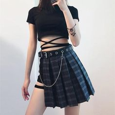 This badass punk rock skirt is a must have for any kawaii babe with an edge! Recreate this entire look with the stomach-wrap t-shirt, black shorts, grey plaid skirt, and matching black leather belt! Or mix and match and create your own gothic look! Made of quality vegan materials that stand the test of time! Hipster Outfits, Kpop Outfits, Edgy Outfits, Grunge Outfits, Girl Outfits, Cute Outfits, Fashion Outfits, Fashion Shorts, K Fashion