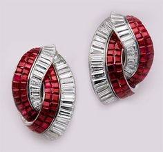 Art Deco Invisible-set ruby, baguette diamond and platinum earrings.