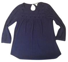 Old Navy Cut-out Bohemiam Romantic Top Dark blue eyelet