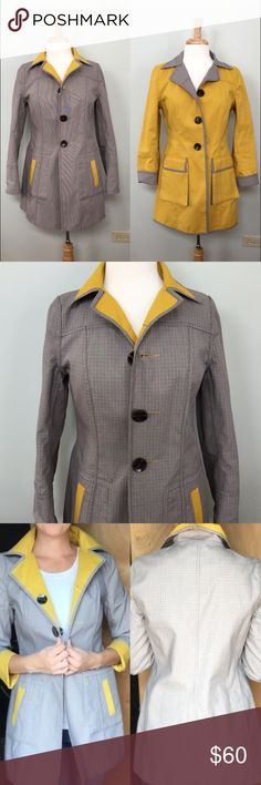 Reversible Plaid / Mustard Spring/Fall Jacket Excellent used condition! Only worn a few times. Big buttons inside and out so you can wear it two ways. Found this at a local boutique in Colorado. No tags but fits like a Medium / Size 6. Fabric is a cotton tweed and sturdy like a raincoat but not waterproof. Boutique Jackets & Coats