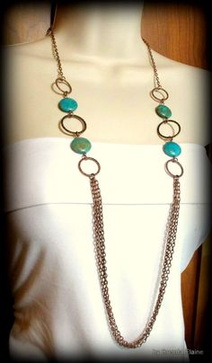 Long Blue Sky Jasper and Chains Necklace by byBrendaElaine on Etsy, $40.00