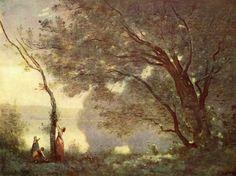 Jean-Baptiste-Camille Corot.  Erinnerung an Mortefontaine.1864, Öl auf Leinwand, 65 × 89cm. Paris, Musée du Louvre.Landschaftsmalerei.Frankreich.Realismus.  KO 00178