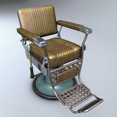 Barber Chair Hair 3D Model - 3D Model