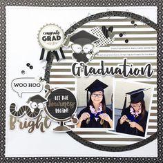 Hats Off Collection: Congrats Grad Layout by Virginia Nebel Graduation Album, Graduation Scrapbook, School Scrapbook, 12x12 Scrapbook, Scrapbook Sketches, Scrapbook Albums, Scrapbooking Layouts, Graduation Picture Poses, Graduation Pictures