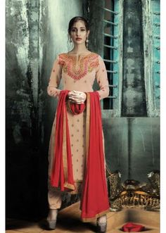 Party Wear Beige Georgette Salwar Suit - FA380-208