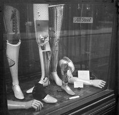 The aftermath of World War II. A shop window in London. 1946.