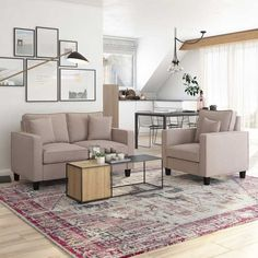 They are the perfect pair, whether curling up with a good book or spreading out while you watch a movie. This loveseat and armchair set is a great option for creating a cozy living area. Cozy Living, Living Room Sets, Living Area, Classic Living Room, Fabric Sofa, Small Spaces, Love Seat, Accent Chairs, Armchair