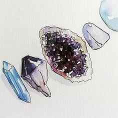 #crystal #watercolor #sketch #art #ametist #amethyst #rhinestone ✨🌙 gemstones crystals minerals sparkle creation ✨ Follow me ♫ >>> Mineral Magic by ❂ Indigo Sunshine on Pinterest ✯☽ XOXOXO 💎✨💎💫