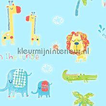 Wij wonen in de jungle aqua behang Noordwand Baby Peuter