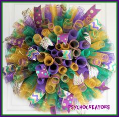 Hey, I found this really awesome Etsy listing at https://www.etsy.com/listing/256441258/xl-mardi-gras-wreath-purple-gold-green