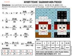 This math activity lets students practice substitution.  Students will practice multiplying and dividing fractions.  After the students solve the problem, they will use their answers to help them color in the picture.  Two mystery pictures are included.