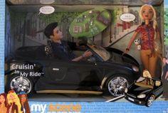 Barbie My Scene CRUISIN' IN MY RIDE Gift Set w Car, Barbie & Ellis Dolls, & More! (2003)