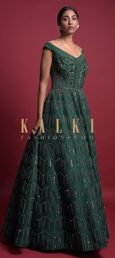 Bottle Green Ball Gown With Off Shoulder Neckline And Embellished Geometric Pattern Online - Kalki Fashion Indowestern Gowns, Bodice, Neckline, Reception Gown, Bridal Gowns, Ball Gowns, Sequins, Free Shipping, Beads