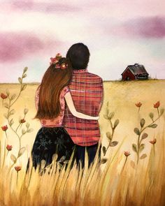Lovers in the field by claudiatremblay on Etsy