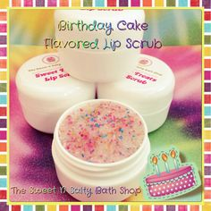 lip scrubs Birthday Cake Flavored Lip Scrub by SweetNSaltyBathShop on Etsy Sugar Scrub For Face, Sugar Scrub Recipe, Sugar Scrub Diy, Lip Scrubs, Sugar Scrubs, Body Scrubs, Salt Scrubs, Zucker Schrubben Diy, Birthday Cake Flavors