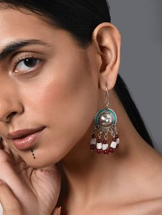 Buy The Stone Age Parampara Elevate your look with spectacular silver-tone stone-beaded jewelry for over-the-top statement Online at Jaypore.com Stone Earrings, Stone Jewelry, Beaded Jewelry, Drop Earrings, Silver Earrings Online, Shopping Coupons, Backpack Brands, Blue And White, Stone Age