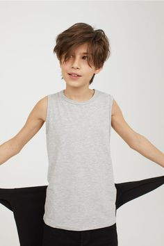 Vest top in soft cotton jersey. Cute 13 Year Old Boys, Young Cute Boys, Cute Teenage Boys, Kids Boys, Beautiful Children, Beautiful Boys, Pretty Boys, Young Boys Fashion, Boy Fashion