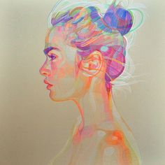 Colored pencil how cool! The hair looks like a bubble almost it and the colors like neon and bright.