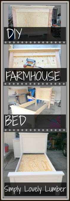 Simply Lovely Lumber DIY Farmhouse Bed complete with pictures of the building process!