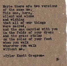Tyler Knott Gregson. Typewriter series.