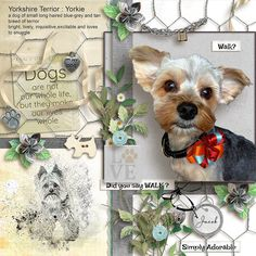 Layout created with Love my Dog by SnickerdoodleDesigns. This collection was designed to help you create scrapbook pages about your furry friends. What do you love about them? What do they do that makes you laugh? How would we ever get along without them? Scrap up your favorite photos with this fun digital scrapbook kit and collection.