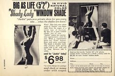 Shady Lady window shade. From Escapade Magazine, July 1960.  Doesn't that just scream classy!