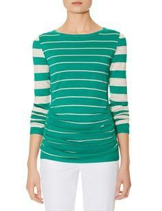 Striped Shirred Front Sweater from THELIMITED.com #ItsTime #TheLimited
