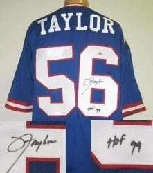 Lawrence Taylor Signed New York Giants Jersey . $285.00. Lawrence Taylor hand-signed New York Giants jersey. This jersey is accompanied by a Radtke Sports certificate of authenticity,matching Radtke Sports tamper-proof serial numbered holograms on the jersey and certificate, and a 4x6 photo of the athlete from the signing. All numbers and letters are sewn on the jersey. Lawrence added the inscription HOF 99 to his signature.